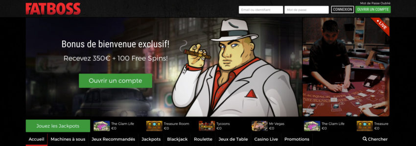 Fatboss Casino avec Croupiers en direct